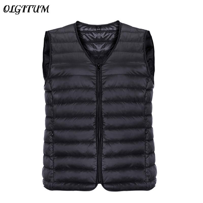 Brand Winter Jacket Vest Men 90% White Duck Down Ultra Light Vest Portable V-neck Sleeveless Coat Male Casual Zipper Waistcoat