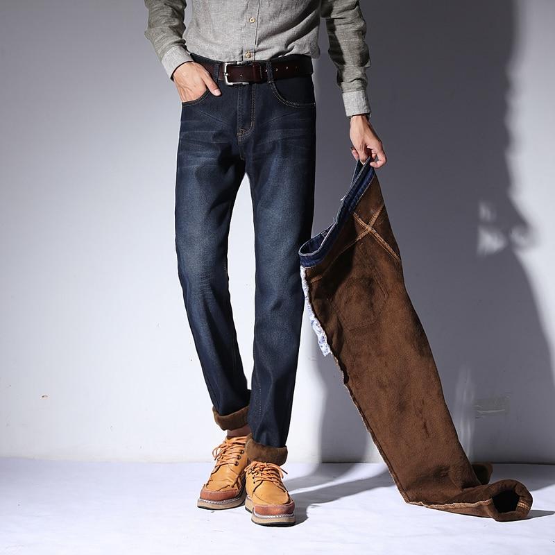 Left ROM 2018 Winter Men s Fashion Pure Color Fine Fleece Straight Jeans Men Elastic Slim