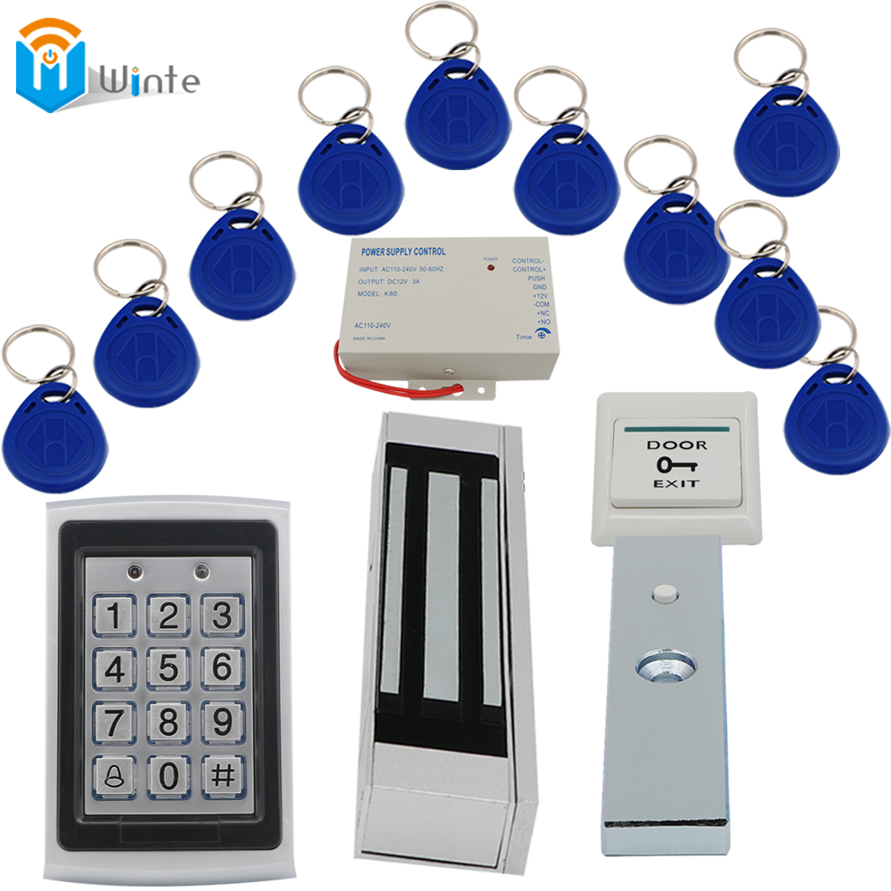 180KGs Electric Lock+ rfid Keychain card+Waterproof RFID Card Reader+ Power supply+ exit button Access Control Door system Winte rfid door access control system kit set with electric lock power supply doorbell door exit button 10 keys id card reader keypad