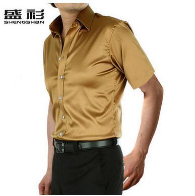 Новое поступление, летняя стильная шелковая Повседневная однотонная мужская рубашка с коротким рукавом, трендовая модная повседневная рубашка из искусственного шелка - Цвет: gold