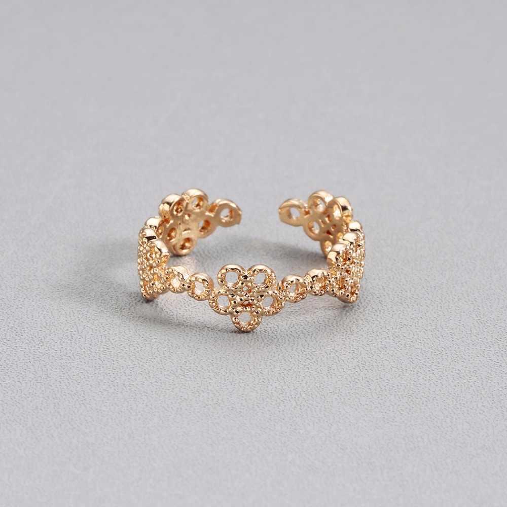 Anillos para mujer dorados indios Retro flor hueca artesanía calavera amor corazón encanto Boho ajustable dedo del pie anillo de mujer regalo