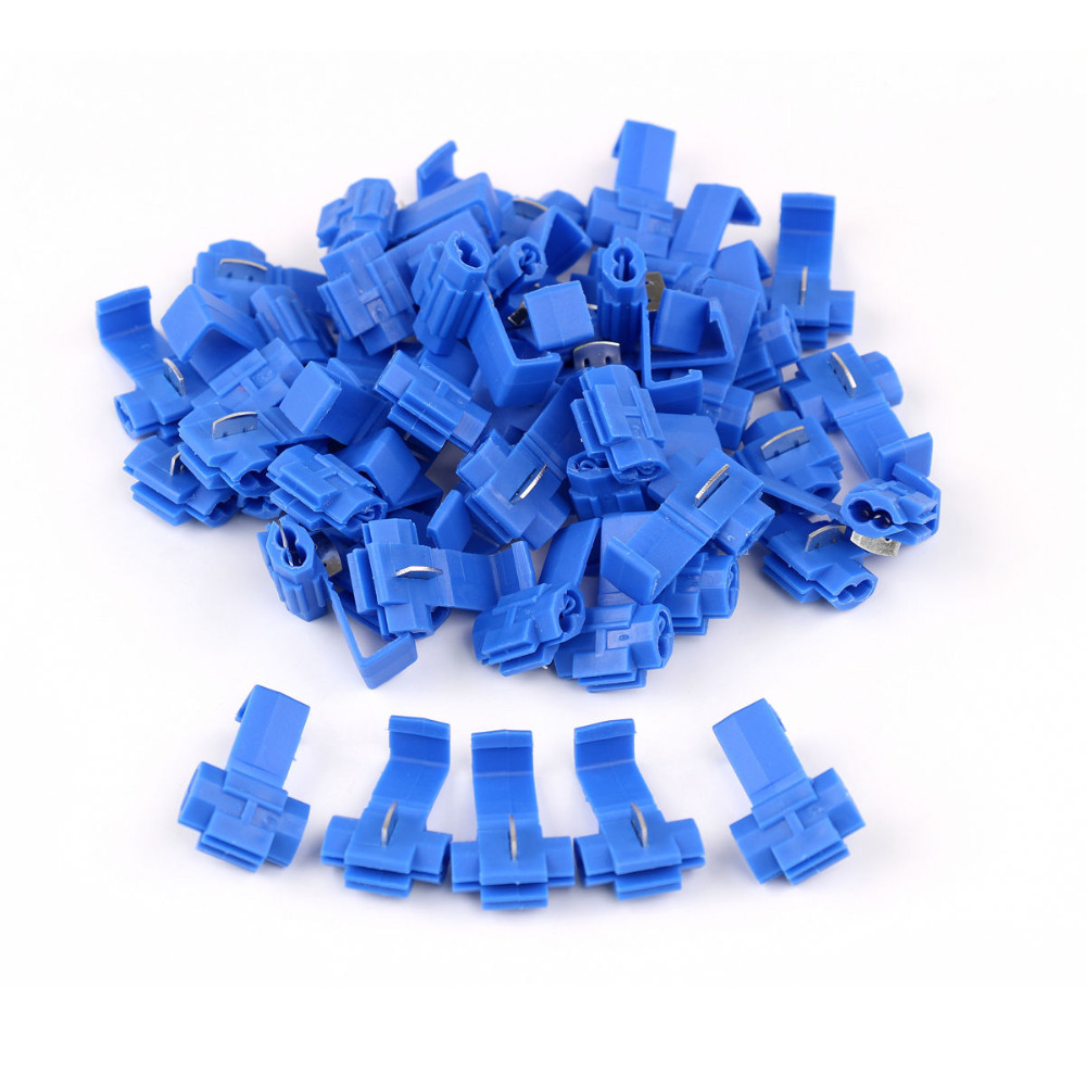 50PCS Insulated Quick Splice Scotch Lock 16-14 AWG Connectors Electrical  Wire Cable Crimp Terminals Blue 200 pcs blue insulated crimp receptacle terminals cable lug frd2 195 awg 16 14