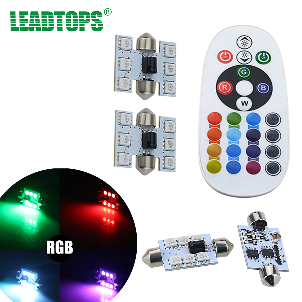 LEADTOPS 2Pcs LED T10 RGB 6 SMD 16 Color RGB Changing LED Car Interior Reading Light With Remote Control Bulbs Auto CC
