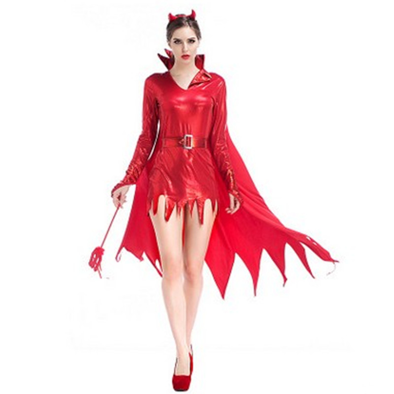 <font><b>Sexy</b></font> Red <font><b>Halloween</b></font> Demon <font><b>Costumes</b></font> <font><b>Woman</b></font> Hell Devil Cosplay fiend Role play Carnival Easter Christmas Masquerade Rave party dress image