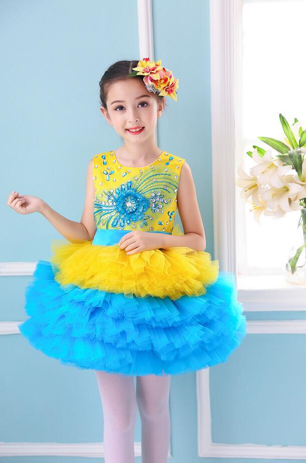 Пышное платье принцессы для девочек; вечерние костюмы для бальных танцев; одежда для выступлений в студенческом хоре; одежда с блестками; юбка из плотной пряжи - Цвет: Цвет: желтый