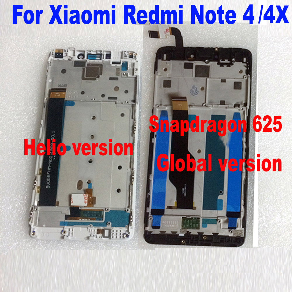 MTK Helio X20/Snapdragon 625 Globale di 32 gb/64 gb Display LCD Touch Screen Digitizer Assembly + frame per Xiaomi Redmi Nota 4 4X
