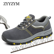 ZYYZYM Steel Toe Shoes Men Work Safety Boots Lace-Up Outdoor Anti-slip Puncture Proof Construction Plus Size