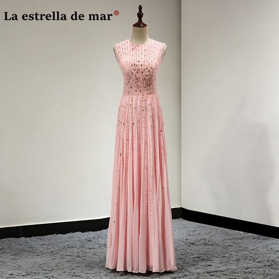 Vestidos de madrinha new chiffon crystal sparkle peach pink bridesmaid dresses long luxury robe rose demoiselle d'honneur