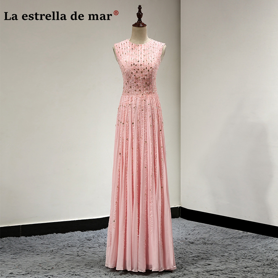 Vestidos de madrinha new chiffon crystal sparkle peach pink   bridesmaid     dresses   long luxury robe rose demoiselle d'honneur