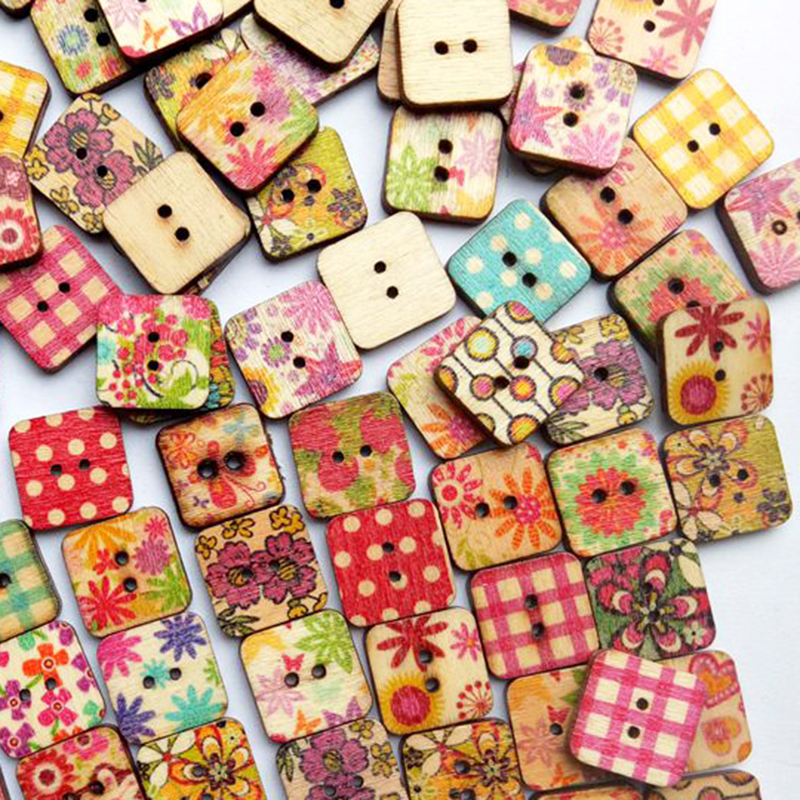 Multicolor 15mm 2 holes sewing wooden buttons mixed flower for Decorative buttons for crafts