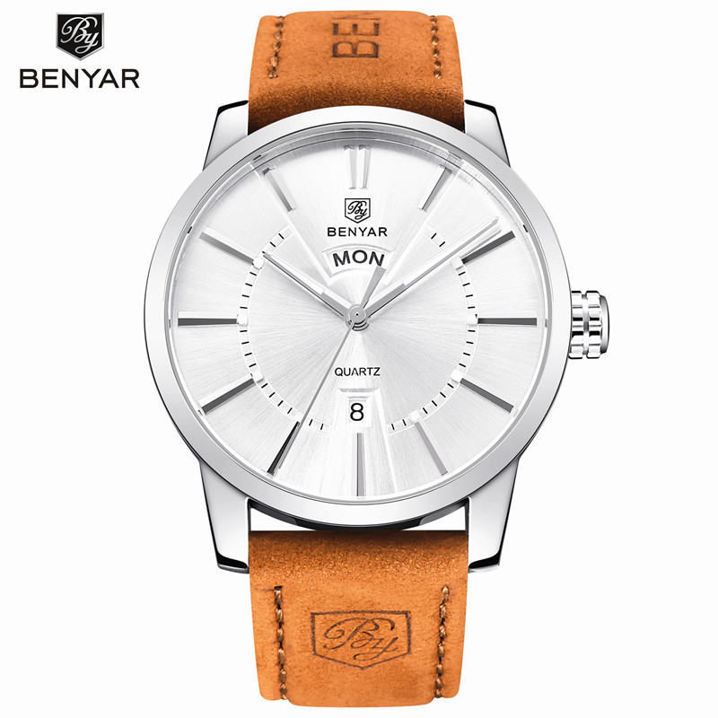 Benyar Original Luxury Brand Steel Army Military Quartz Watch Men Leather Strap Hour Clock Sports Wristwatch Relogio Masculino benyar luxury brand military watch men quartz analog clock leather strap clock mens sports watches army relogio masculino