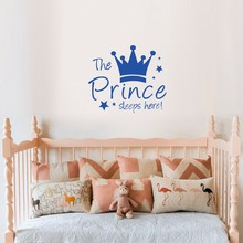 PVC Wall Sticker Blue Crown Star Characters The Prince Sleeps Here Kids Bedroom Decoration for Furniture Vinyl Art Decals S M L цена 2017