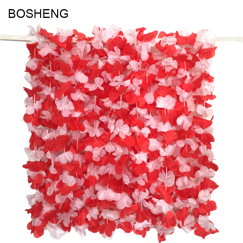 Hawaiian artificial Red and White Luau Flower Leis Necklaces Fancy Dress for Tropical Island Beach Theme Party Event 30pcs