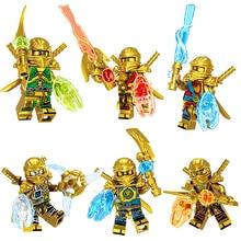 6 в 1 золото Ninjago Совместимость с LegoINGLYS цифры оружие модель строительные блоки кирпичи дети зимний праздник подарок детские игрушки