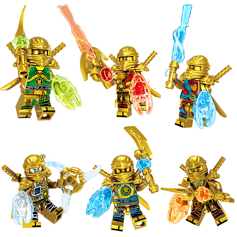 6 IN 1 Gold Ninjagoed Action Figures Weapon Model Building Blocks Bricks Kids Best Gift Baby Toys Compatible with LegoINGLYS