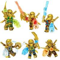6 IN 1 Gold Ninjagoed Action Figures Weapon Model Building Blocks Bricks Kids Best Gift Baby