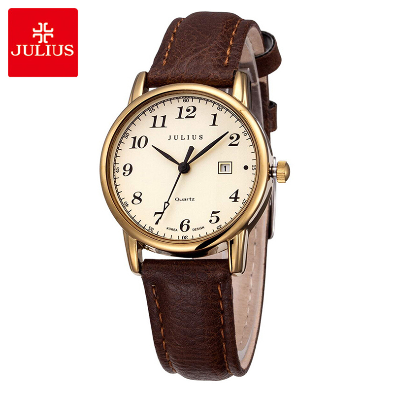 Julius Women Quartz Watch Casual Business Date Watches Leather Waterproof Ladies Wristwatches Simple Arabic Numbers Couple Watch
