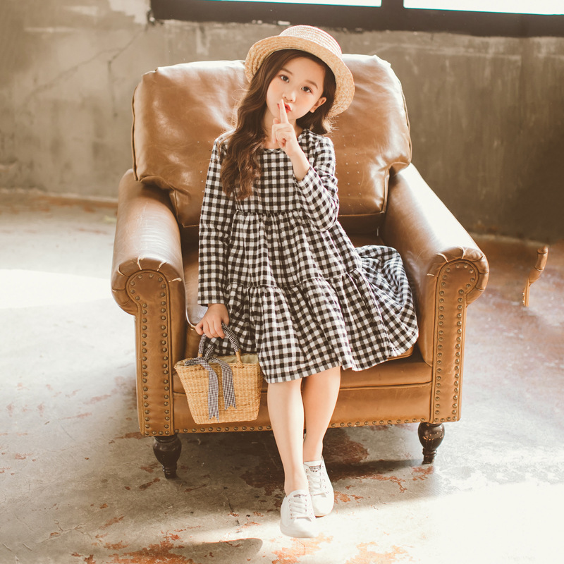 Image 5 - Brand 2019 Autumn New Girls Dresses Children Cotton Dress Kids Plaid Dress Bow Baby Girls' Cotton Dress Toddler Clothes,#2787-in Dresses from Mother & Kids