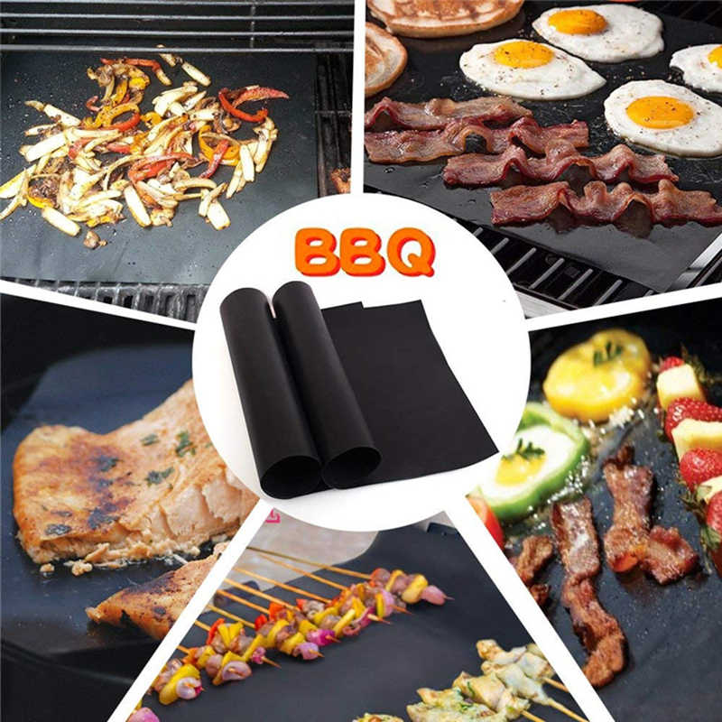 1pcs Non-stick BBQ Grill Pad  Easily Cleaned Kitchen Accessories Tools Barbecue Baking Mat Teflon Cooking Grilling Plate