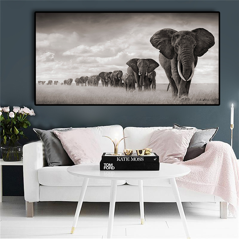 Black Africa Elephants Wild Animals Canvas Painting Scandinavia Posters And Prints Cuadros Wall Art Pictures For Living Room