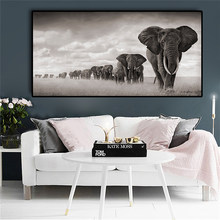 Black Africa Elephants Wild Animals Canvas Painting Scandinavia Posters and Prints Cuadros Wall Art Pictures For Living Room(China)