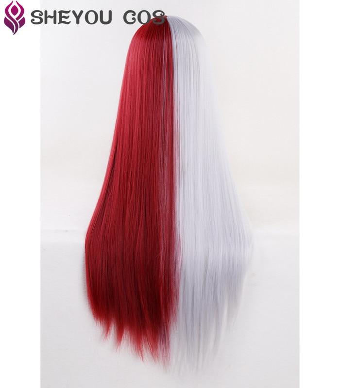 My Boku no Hero Academia Shoto Todoroki Shouto Short Sliver White And Red Heat Resistant Cosplay Costume Wig