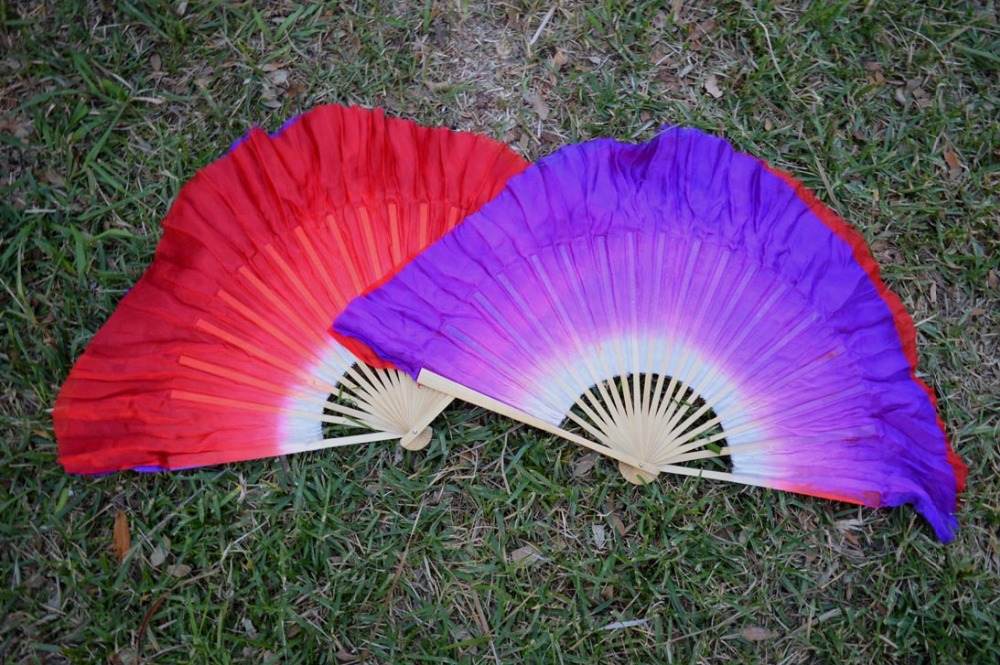 2016 Women Of High Quality Silk Chinese Belly Dance Dance Fan Cheap Hot Side Of The Red Side Of The Purple Short Silk Fan