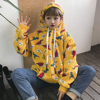 Autumn And Winter Women S Korean Version Of The Bf Wind Loose Cute Cartoon Dinosaur Printing