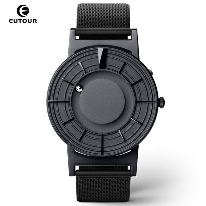 EUTOUR Mens Homem de Quartzo Relógio de Mulheres relógios Bola Magnética Mostrar Os Tipos Correias Moda Casual Relógios de Pulso erkek kol saati 2019