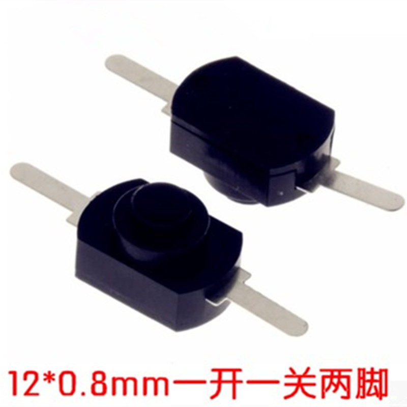 100pcs <font><b>12</b></font>*8MM <font><b>DC</b></font> <font><b>30V</b></font> 1A Black On Off Mini Push Button Switch for Electric Torch 1208YD image