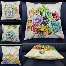 High Quality Nordic Style Beautiful Flower Cushion Cover Printed Linen Cotton Plain Pillowcase For Sofa Seat Home Decor