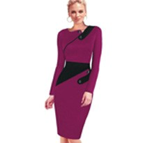 Black Dress Tunic Women Formal Work Office Sheath Patchwork Line Asymmetrical Neck Knee Length Plus Size Pencil Dress B63 B231 8