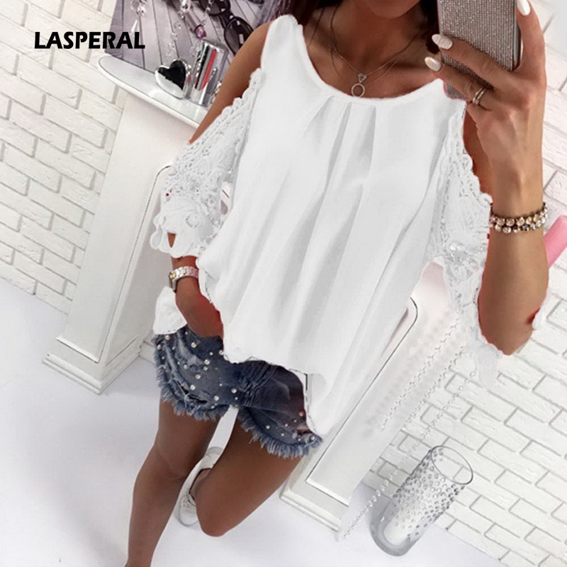 LASPERAL 2018 Spring Autumn Women Blouse Shirt Beach Casual Sexy Cold Shoulder Sleeves Hollow Out Women's Blusas Mujer Tops Tee
