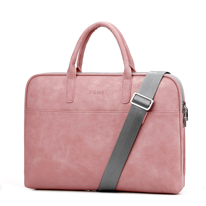 Fashion PU Leather Laptop Bags For Women 14 15 15.6 17.3 Inch For Macbook Air 13 Inch Casual Portable Waterproof  Notebook Bag(China)