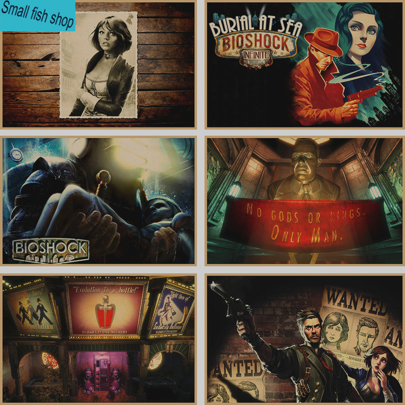 BioShock Home Furnishing decoration Kraft Game Poster Drawing core Wall stickers