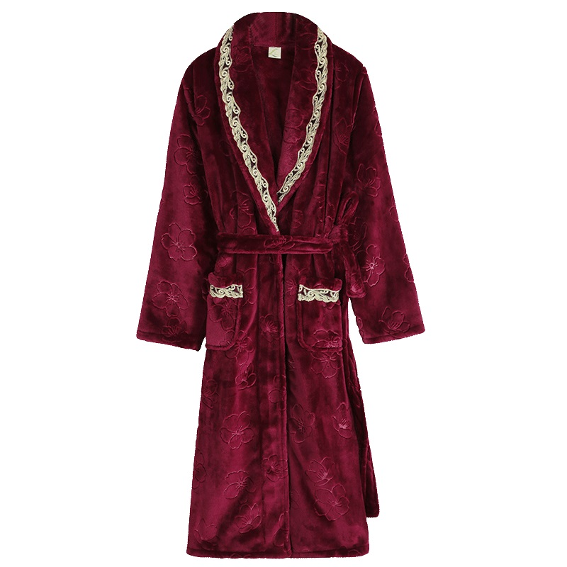 Luxury Flannel Robe Female Thick Elegant Dressing Gown Warm Belted Empire Women s Bathrobe Winter Long