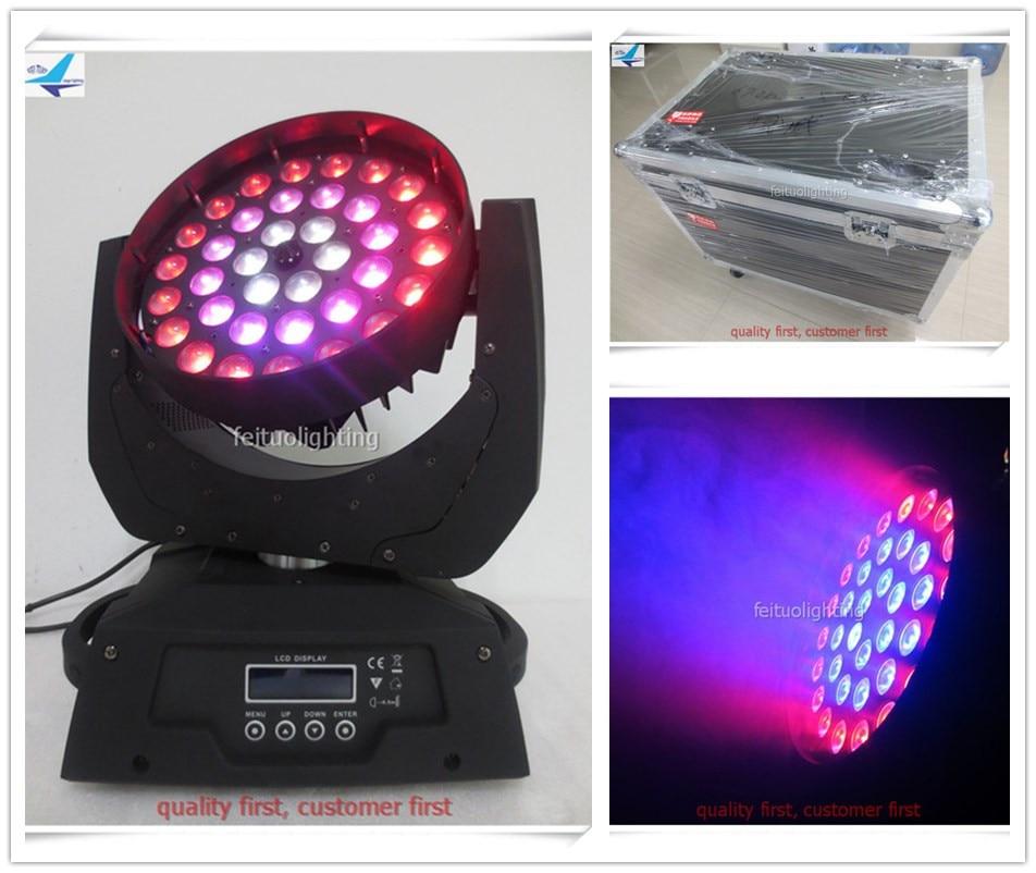 цена на free shipping 6pcs/lot flycase Zoom Wash Lumiere 36x15w Moving Head Light Circle RGBWA 5in1 Rotation Auto Show Stage DJ Lighting