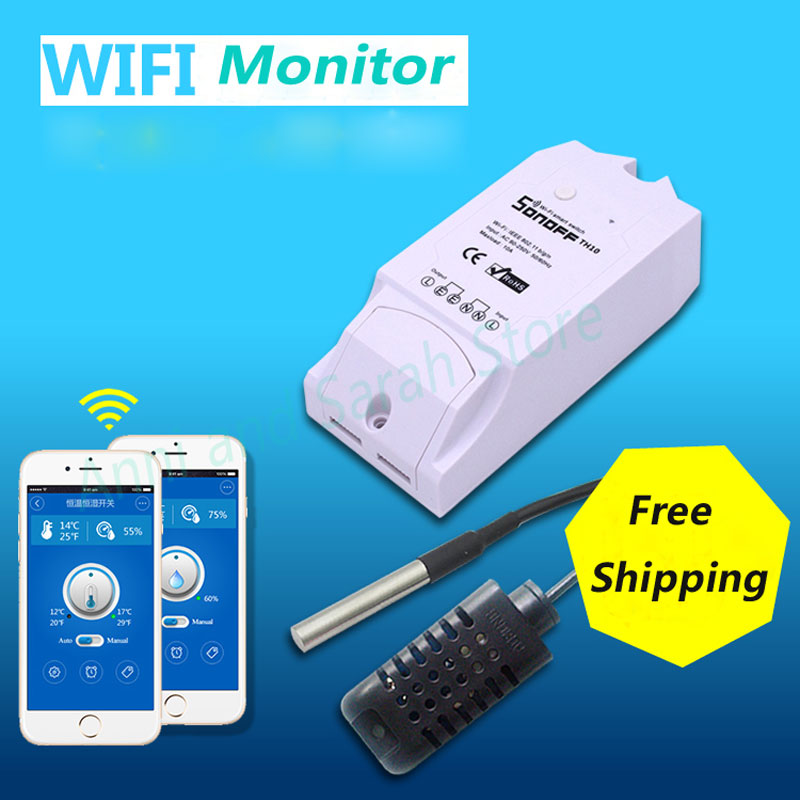 Itead Sonoff TH 10a 16a Senzor de monitorizare a umidității de temperatură pentru Smart Home Smart Smart Switch Wireless App Remote Controller