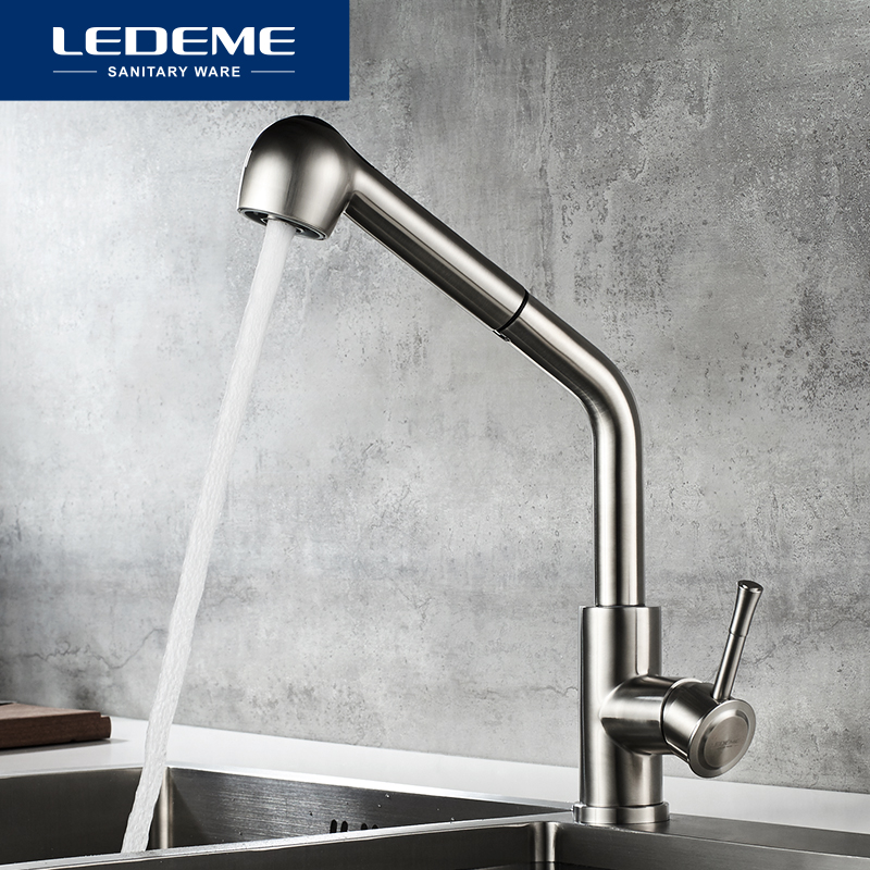 LEDEME Kitchen Faucet Swivel Spouts Sprayer Brushed Nickel Deck Mounted Vessel Sink Stainless Steel Faucets Mixer Tap L76014