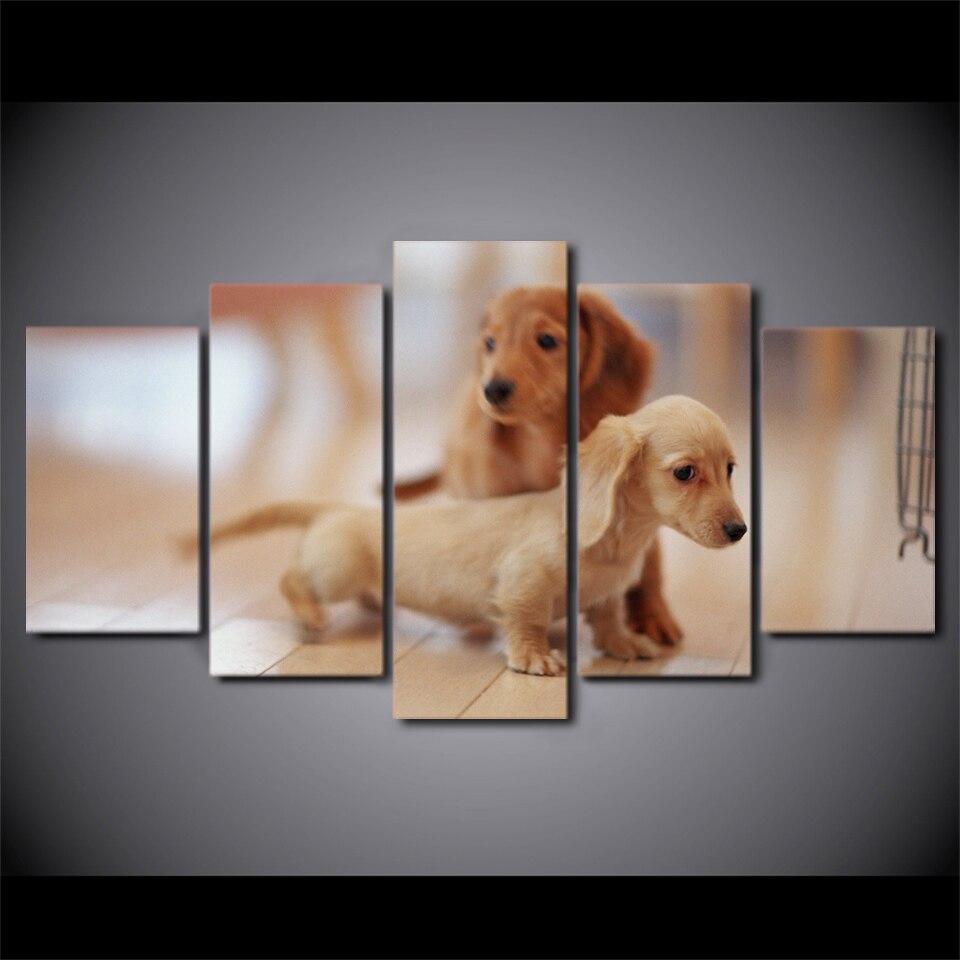 Duvar Sanatı Resimleri Için Oturma Odası Tuval HD Baskılar 5 Adet Sevimli Köpekler Resimleri Hayvan Dachshund Köpek Posteri Ev D
