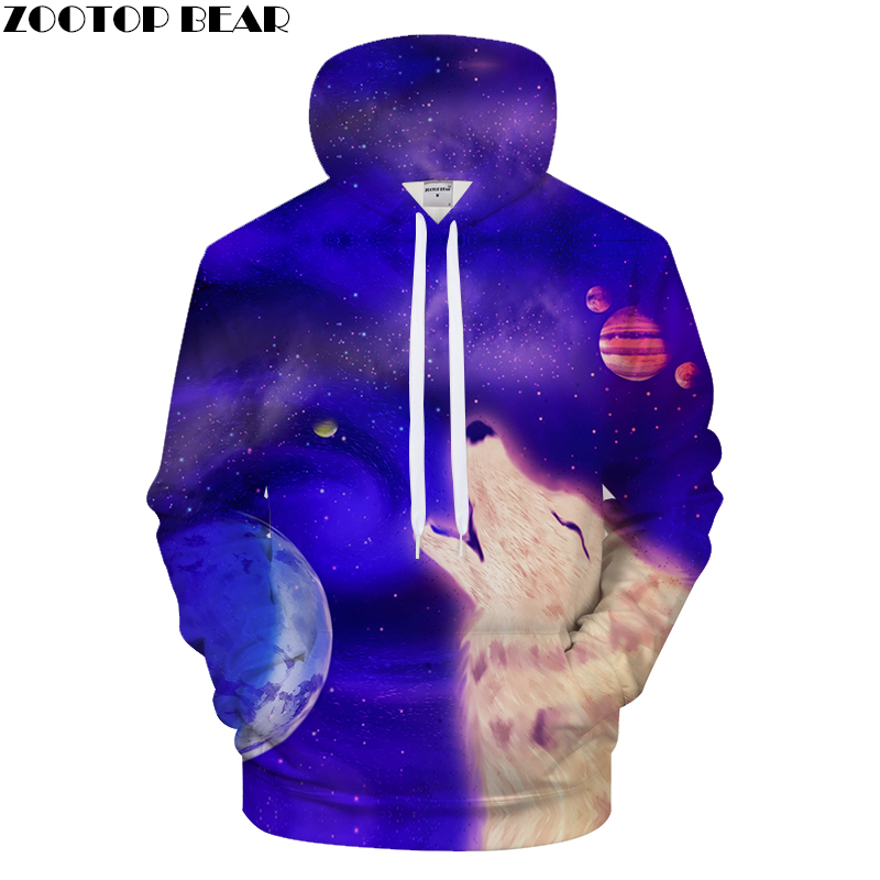 Blue Hoodies Men Wolf Hoody Galaxy Sweatshirt Casual Tracksuit 3D Pullover Male Coat Streatwear Hooded Moon Dropship ZOOTOPBEAR