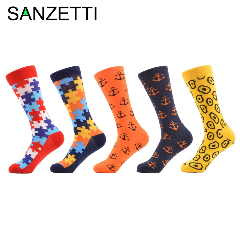SANZETTI 5 pairs/lot Mens Classical Funny Combed Cotton Socks Puzzle Anchor Yellow Dot Casual Crew Socks Crazy Dress Socks