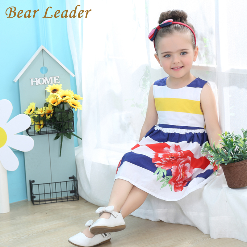 Bear Leader Girls Dress 2017 Brand Girls Clothes Children Clothing Striped Rose Floral Sleeveless Kids Clothes Princess Dresses bear leader girls dress 2016 brand princess dress kids clothes sleeveless red rose print design for grils more style clothes