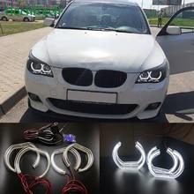 BMW 5 SERISI için E60 E61 LCI 525i 528i 530i 545i 550i M5 2007 2010 Yüksek Kaliteli DTM Tarzı beyaz Kristal LED melek gözler için Gün ışığı