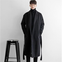 Winter Men's Wool Coat Plus Size Thick Warm Cotton Overcoat Male Wool Blend Coat With Belt Turn down Collar Peacoat Ma5083