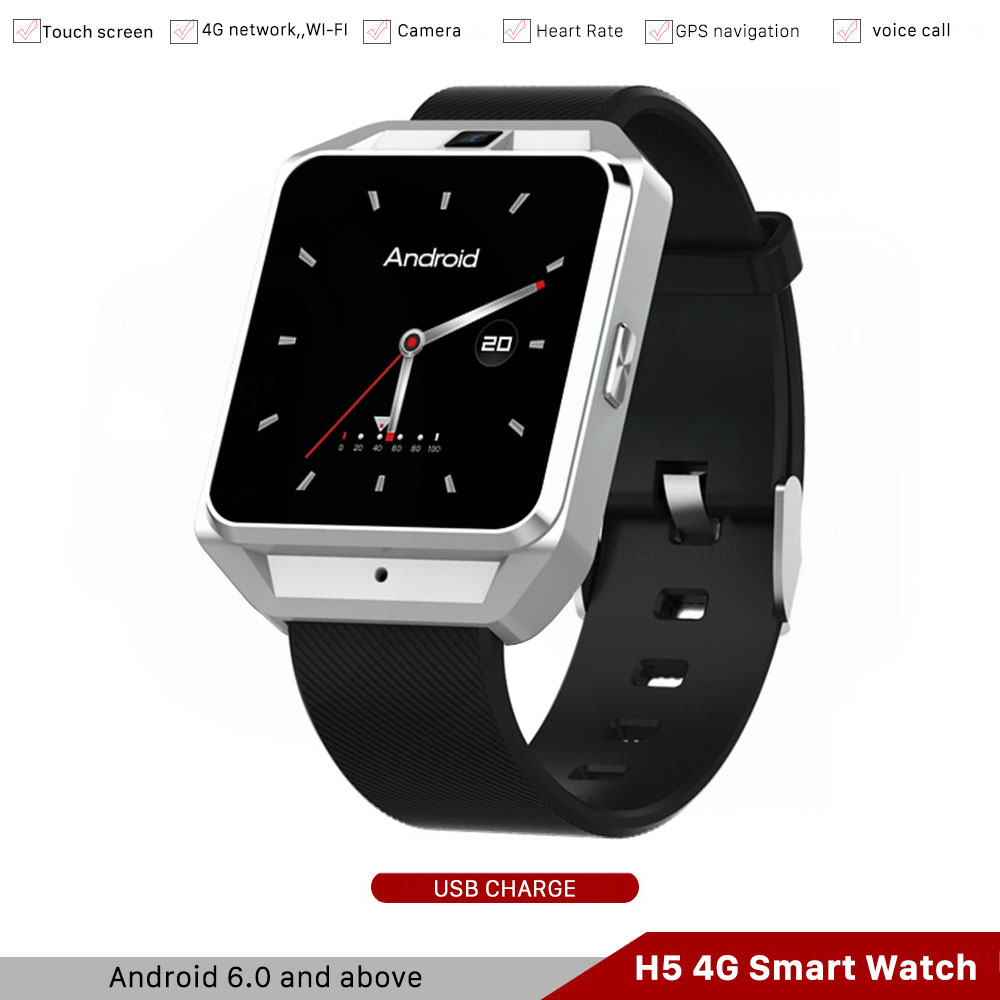 H5 4G Smart Watch Man GPS Phone WIFI 1G/Ram 8G/Rom Android 6.0 Hart Rate Smartwatch Earphone Camera