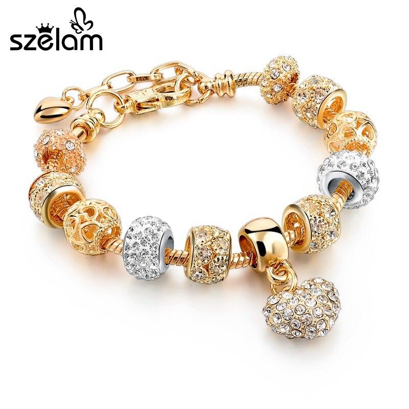 SZELAM Crystal Heart Charm Bracelets & Bangles Gold Bracelets for Women Jewellery Pulseira Feminina SBR160056