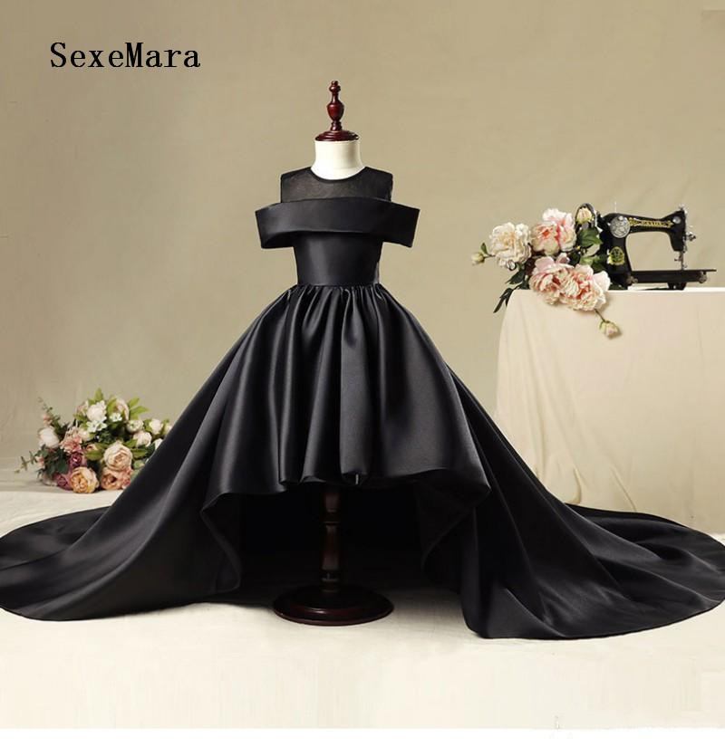 New Black   Flower     Girl     Dresses   For Weddings Hi Low   Girls   Pageant   Dress   With Long Train Kids Party Show   Dress   Size 2-14Y