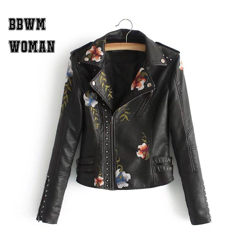 Embroidery Flower and Leaf Long Sleeve Pu Women Jacket Black and White Lapel Rivet Decor Ethnic