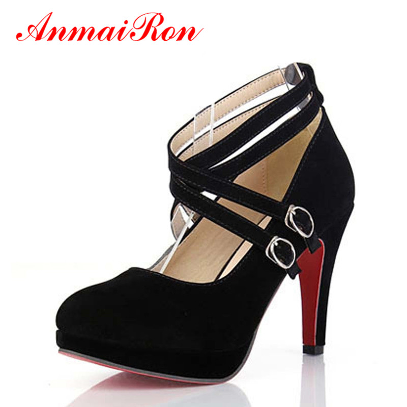 ФОТО ANMAIRON Women Pumps Shoes Black Beige Big Size Wholesale Spring 2 Colors Fashion Party Platform High Heels Pumps Women Shoes